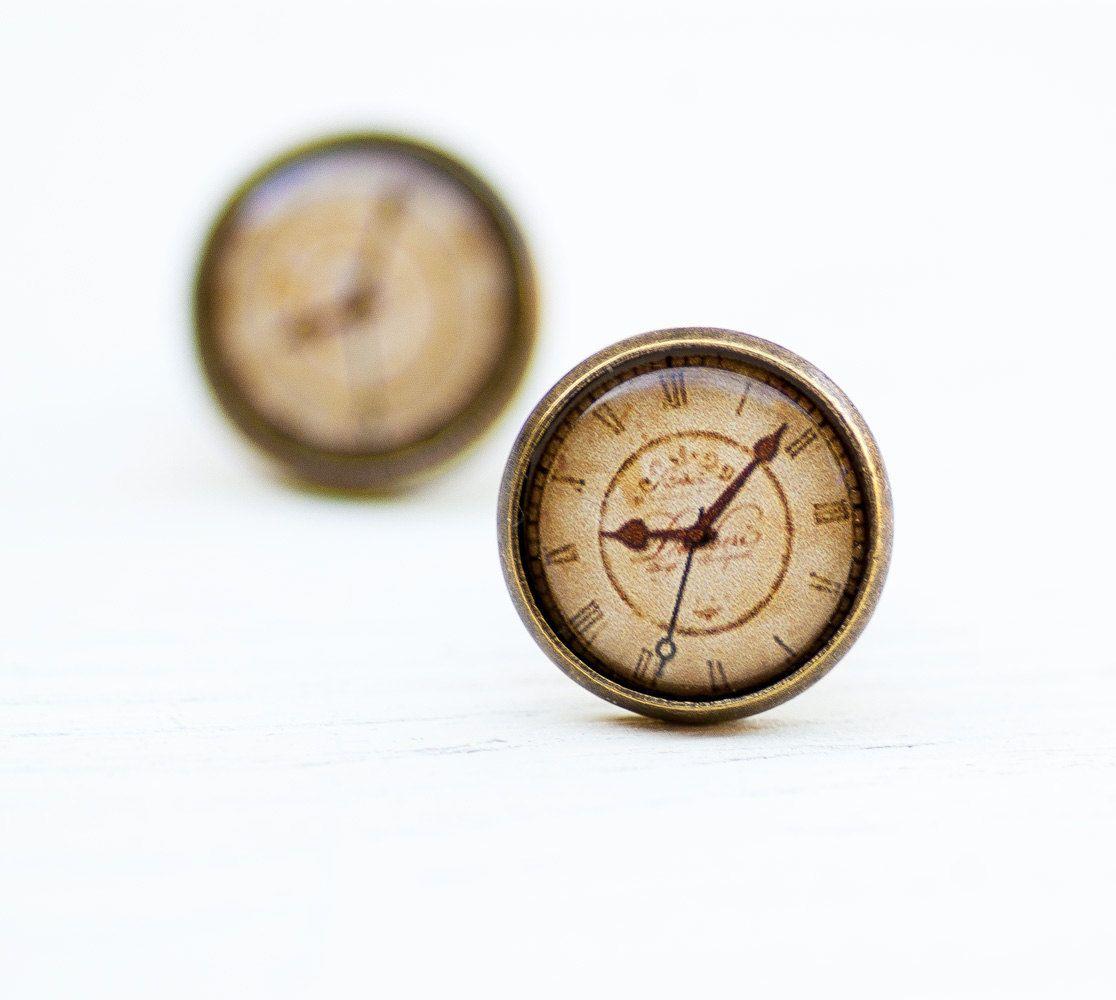 Clock stud earrings steampunk jewelry unusual earrings old