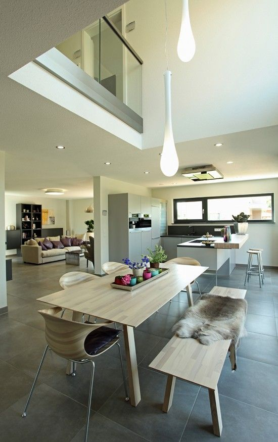Fertighaus Wohnidee Küche und Esszimmer Haus Pinterest - küche mit esszimmer