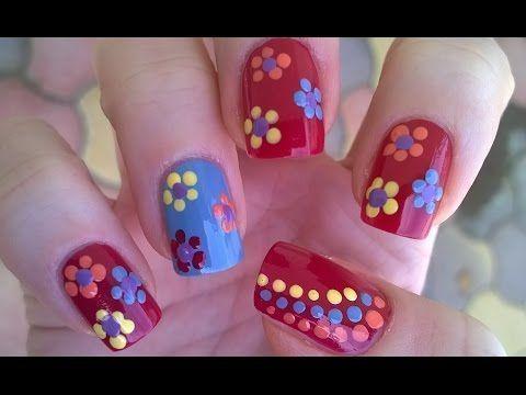 nice dotting tool flower nail art / diy easy summer dot