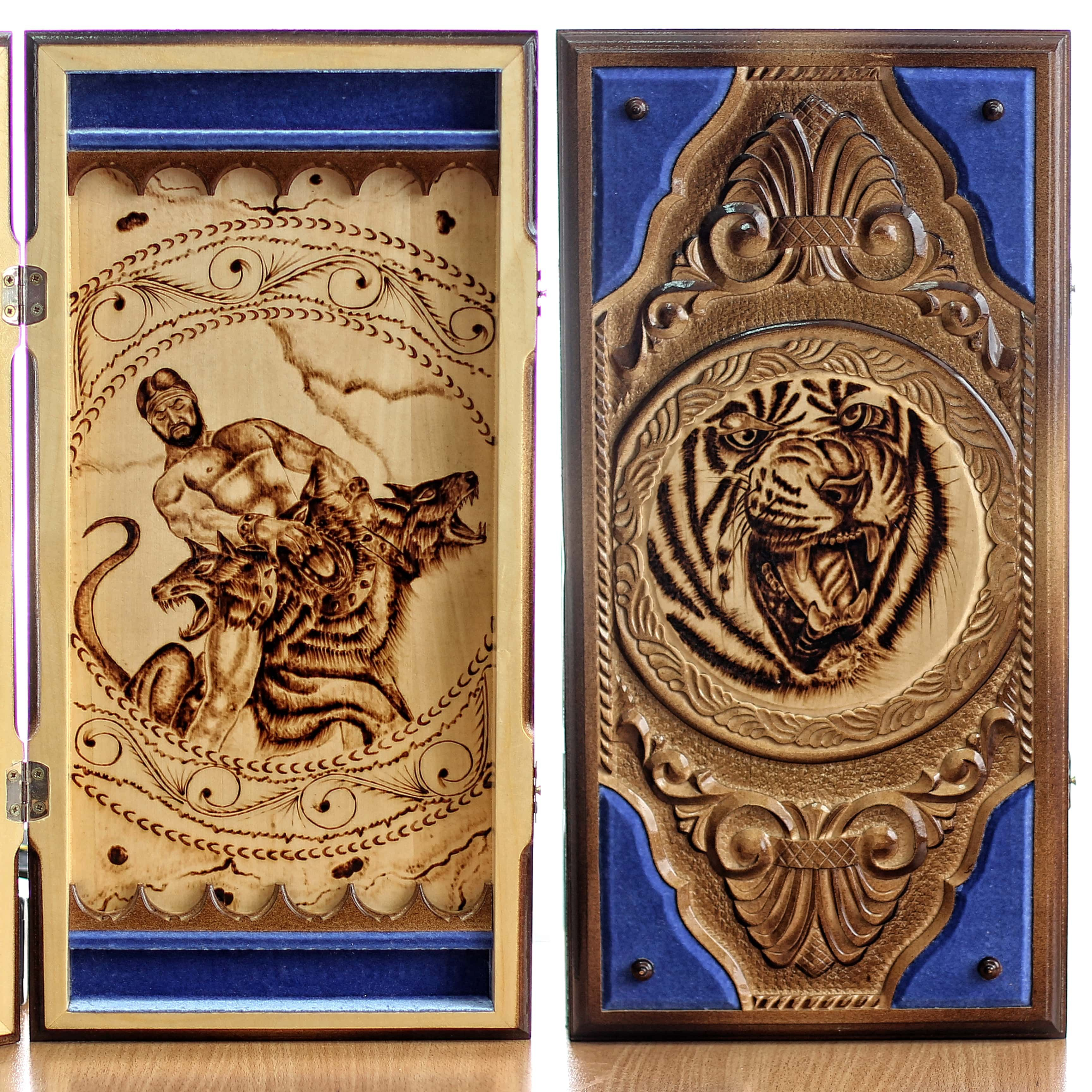 Backgammon Set Tiger And Hercules There Are Images Of Tigers On