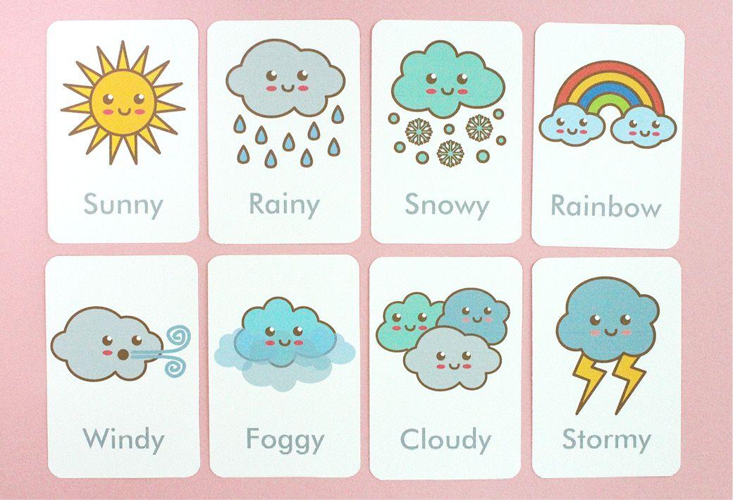 Free Printable Weather Flash Cards Preschool weather