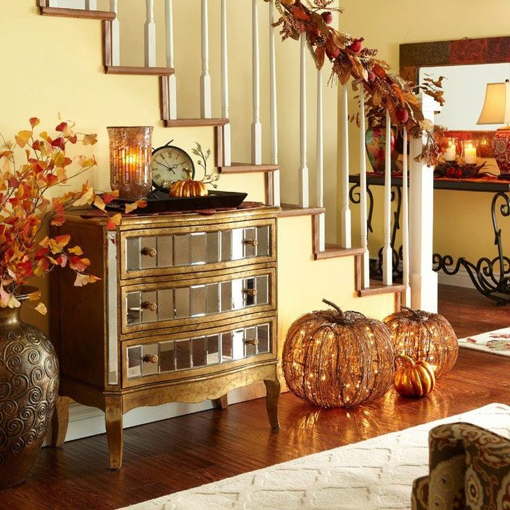 cozy fall staircase decor ideas 15jpg 736736 - Fall Decorations Ideas