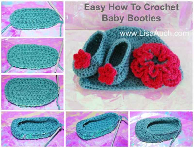 Easy How to Crochet Baby Booties Tutorial and Free Patterns ...