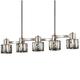 Dining room 229portfolio 32 in w aztec 5 light brushed nickel shop portfolio brushed nickel island light with tiffany style shade at lowe canada find our selection of kitchen island lighting at the lowest price workwithnaturefo