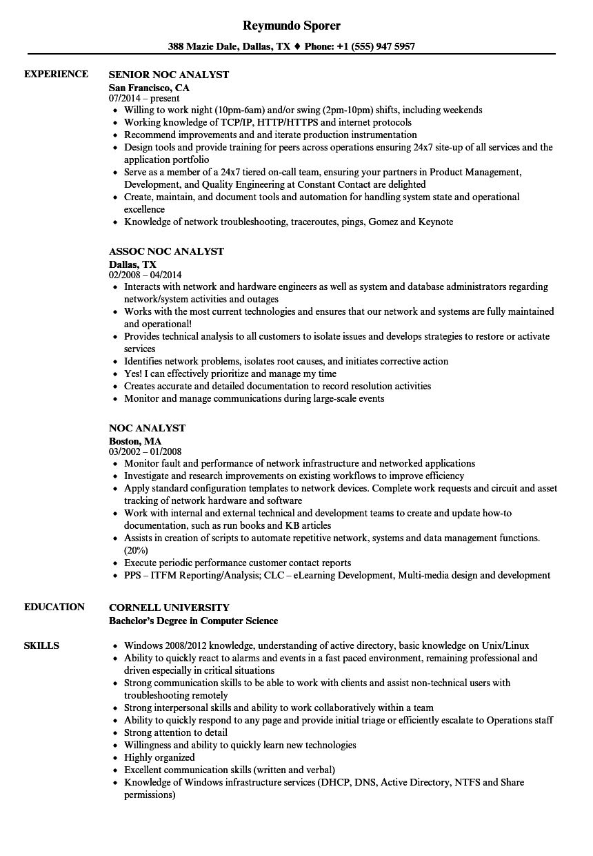 Noc Analyst Resume Samples in 2020 Resume examples