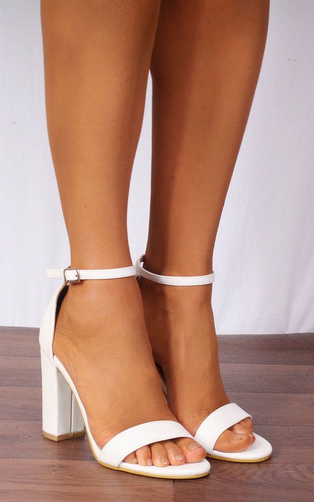 White Barely There High Heel Sandals With Ankle Strap | Shoe Closet | SilkFred