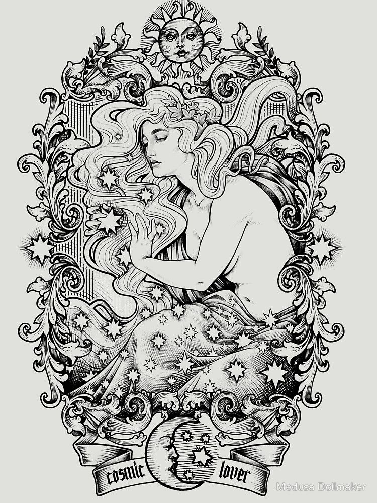 Cosmic Lovers Ink Solo Version T Shirt By Medusa Dollmaker In 2020 Witch Coloring Pages Art Art Nouveau Illustration