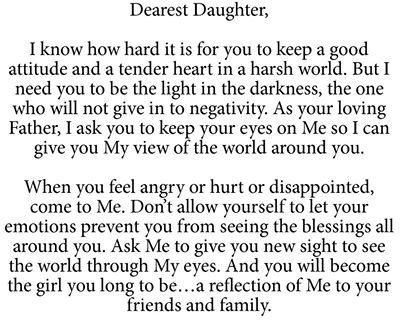 dearest daughter, take these words to heart   and to prayer