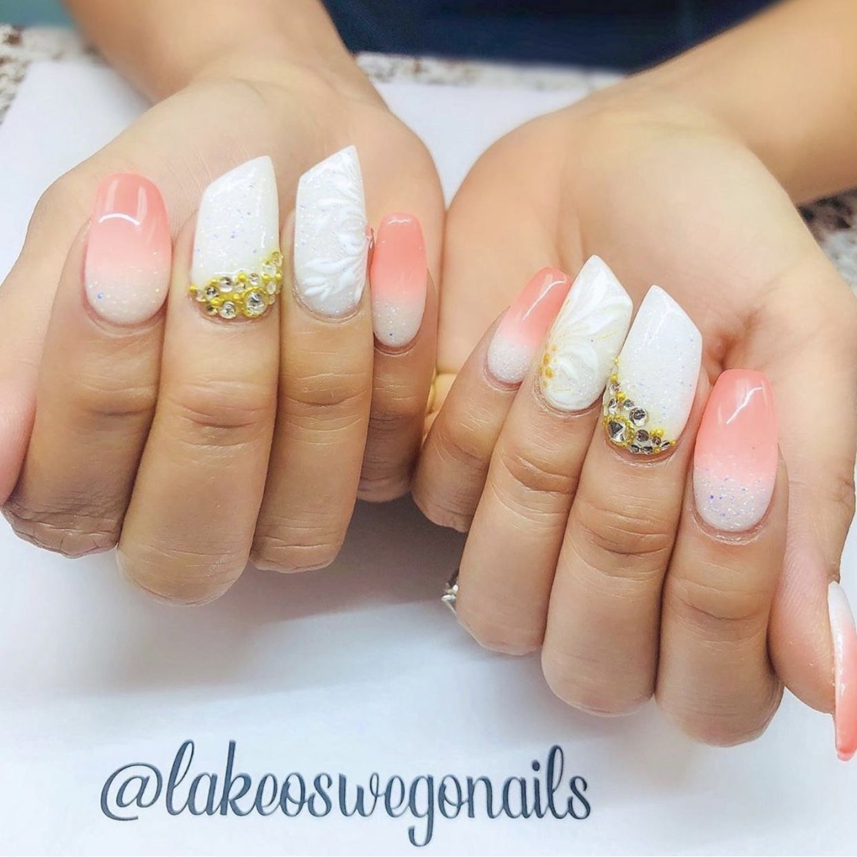 Coral Ombre Nails. #coralombrehair   Ombre nails, Coral