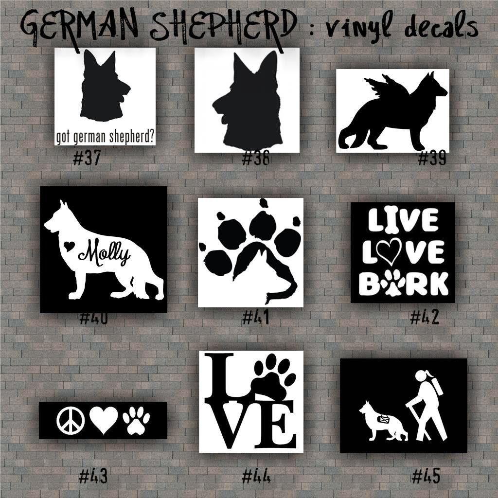 German Shepherd Vinyl Decals 37 45 Vinyl Sticker Car Window Stickers Working Dog Pets Dog Decal Dog Decals Black German Shepherd Vinyl Decals [ 1024 x 1024 Pixel ]
