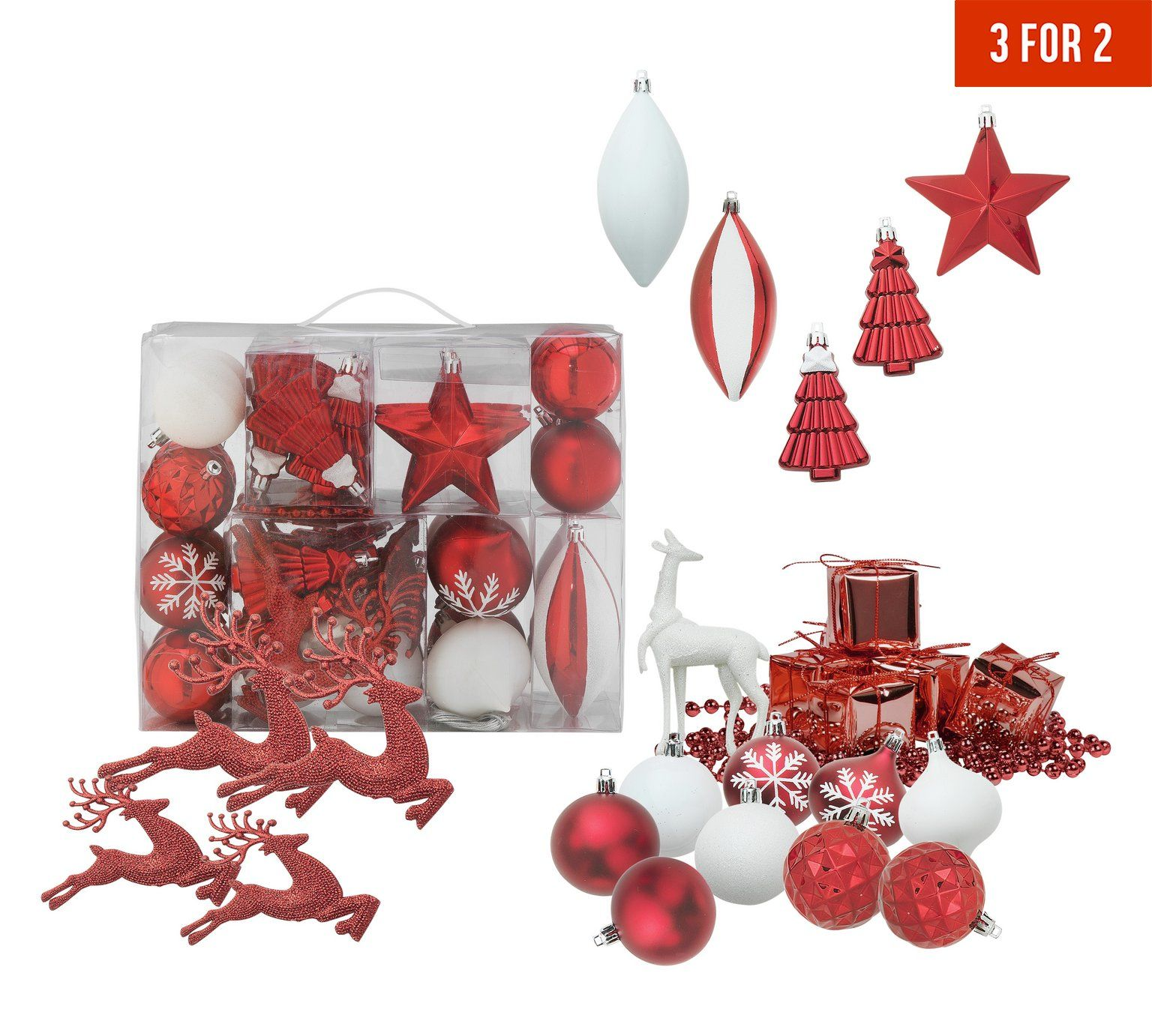 Buy 48 Piece Homespun Bauble Pack   Red And White At Argos.co.uk