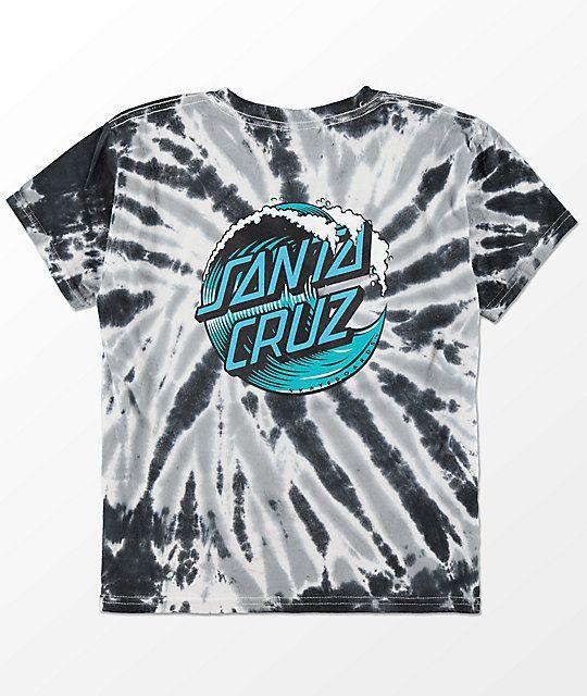 18271493b95148 Santa Cruz Boys Wave Dot Black Twist Tie Dye T-Shirt