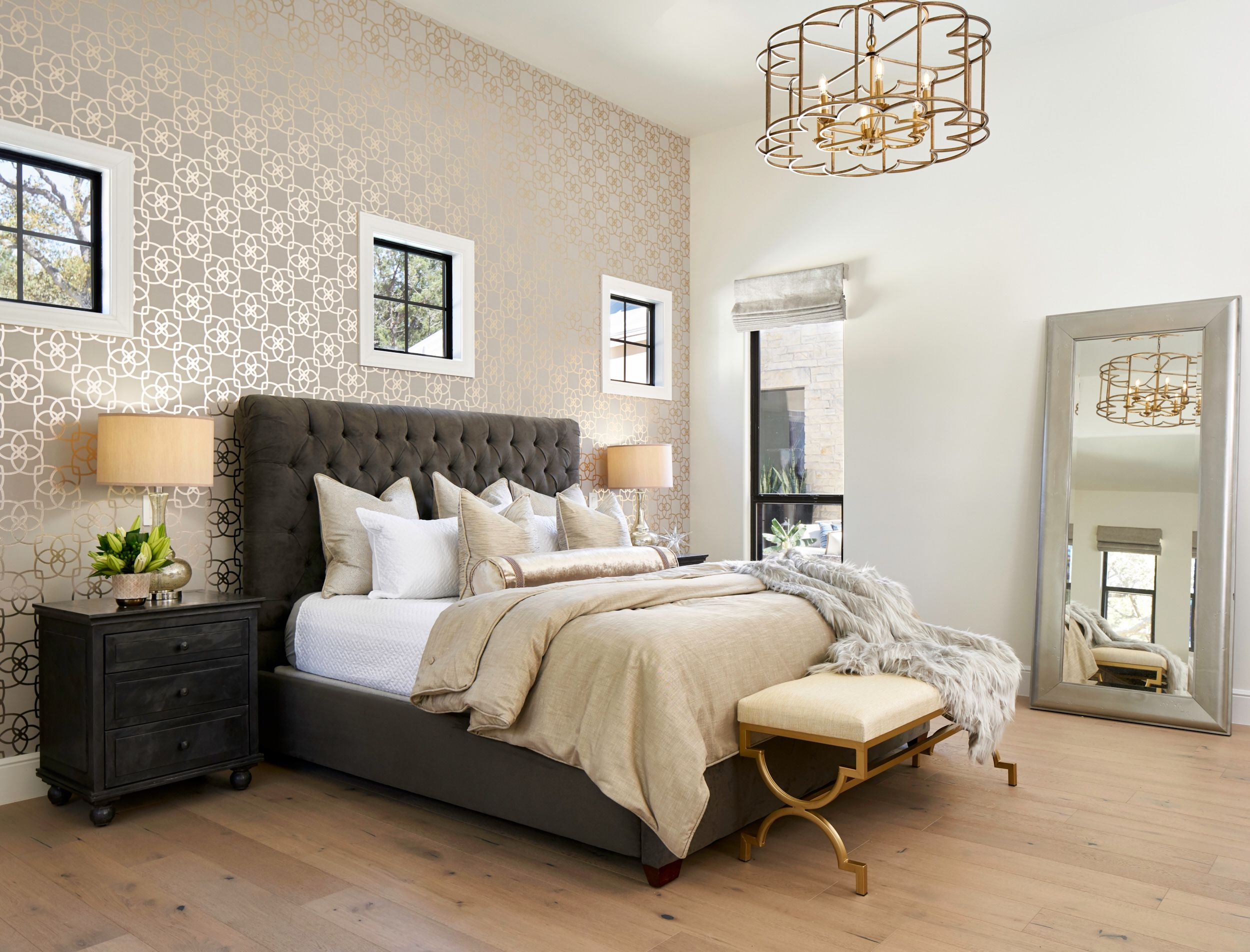 Transitional Master Bedroom With Wallpaper Accent Wall And European White
