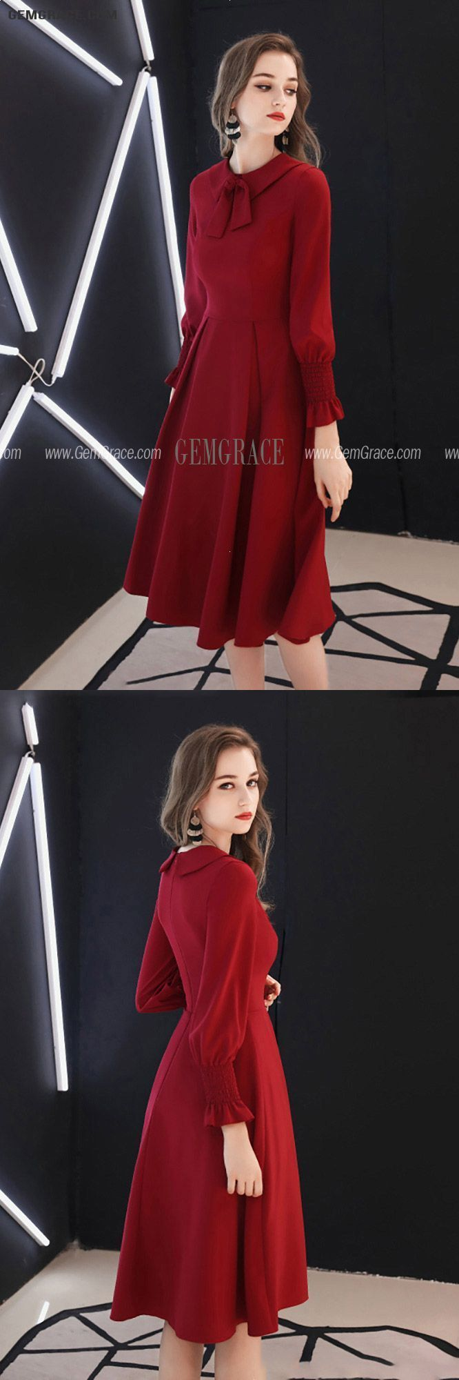 Retro Knee Length Burgundy Party Dress With Long Sleeves Bow Knot Ref#HTX97033 at GemGrace. #HomecomingDresses Shop now to get $10 off. Pro custom-made service for wedding dress, formal dress. View Homecoming Dresses,Red Homecoming Dresses,Long Sleeve Homecoming Dresses,Burgundy Homecoming Dresses,Modest Homecoming Dresses,Semi Formal Dresses for more ideas. Click to shop now! #BuyableHomecomingDresses #longsleevehomecomingdresses Retro Knee Length Burgundy Party Dress With Long Sleeves Bow Knot