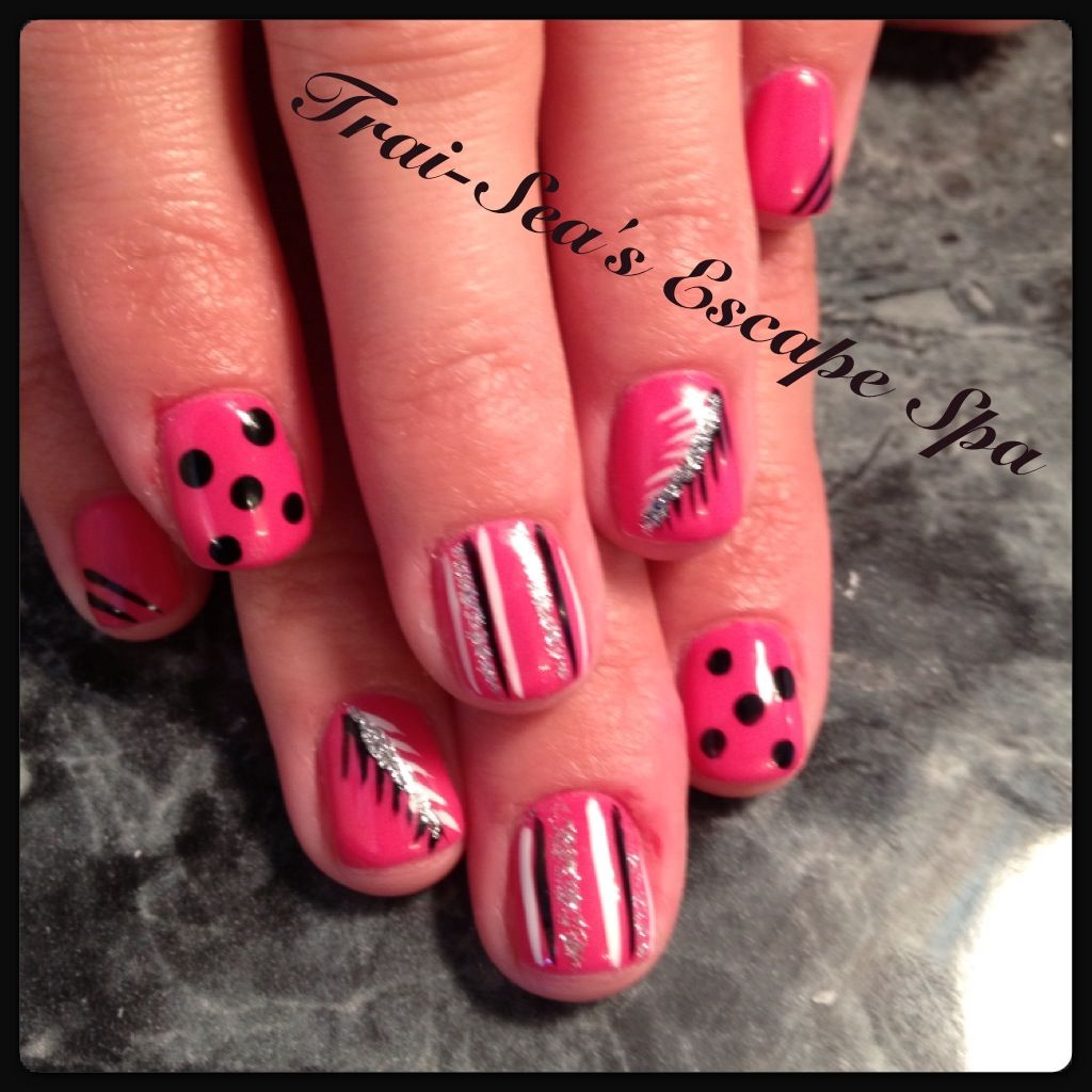 Pink with fun designs - hand painted nail art   *Nails ...
