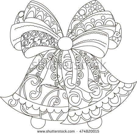 Stylized black and white hand drawn bells with bow, anti stress ...