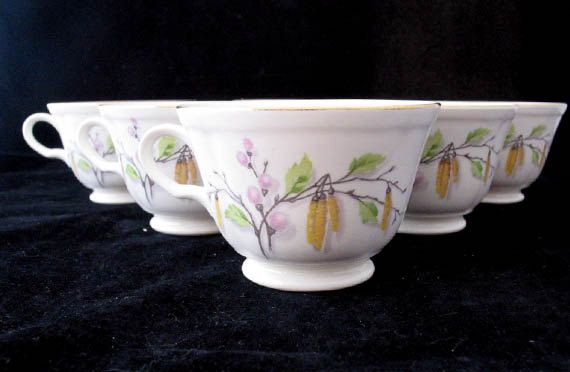 6 Knowles Sylvia Coffee Cups with Pussy Willow by FoxyFineVintage