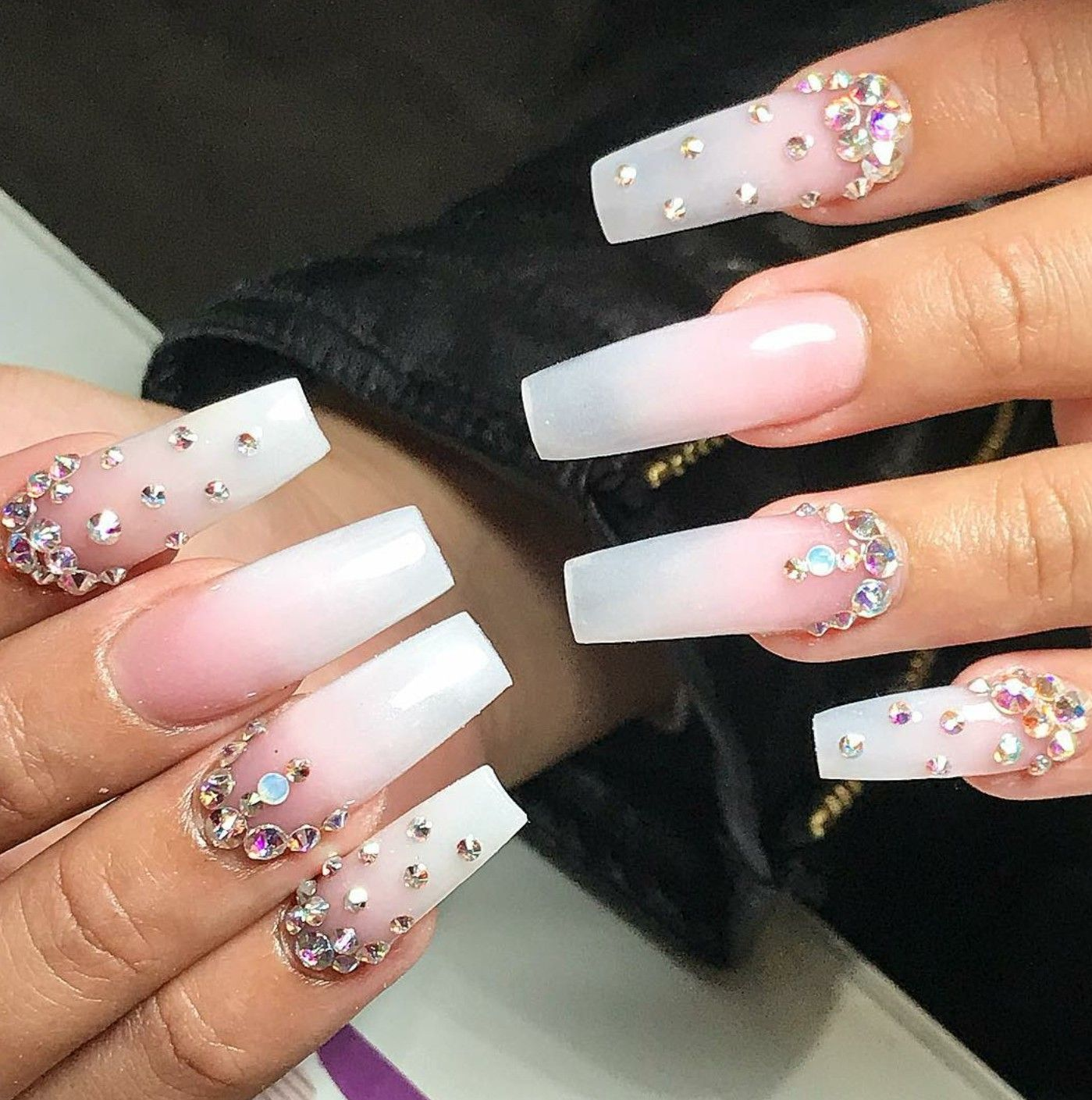 Long Square Nails Nails With Rhinestones Ombre Nails Pink And White Nails Acrylic Nails Long Square Nails Long Square Acrylic Nails Rhinestone Nails
