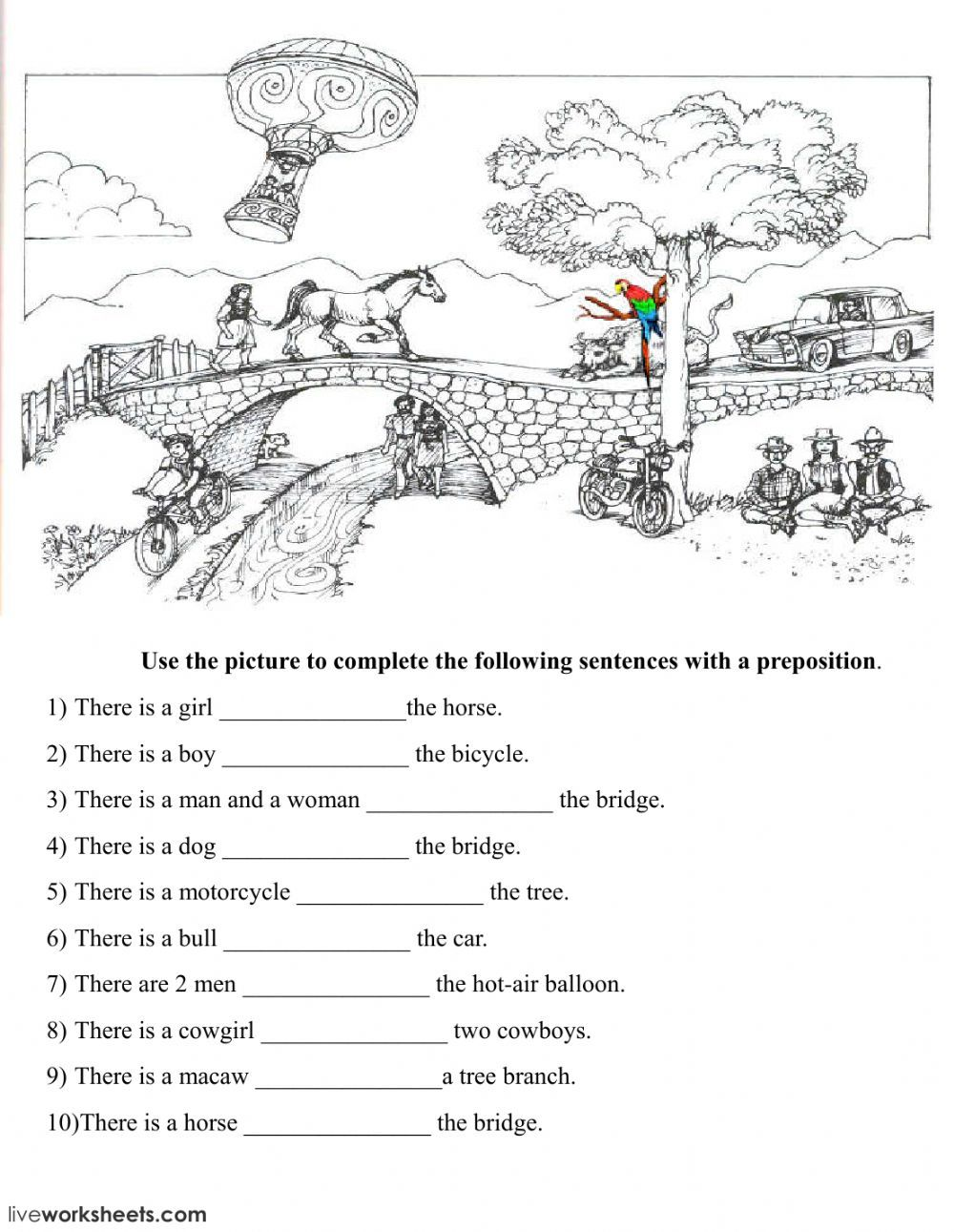 Prepositions of Place online exercise and pdf. You can do the exercises  online or download the works…   Prepositions [ 1291 x 1000 Pixel ]