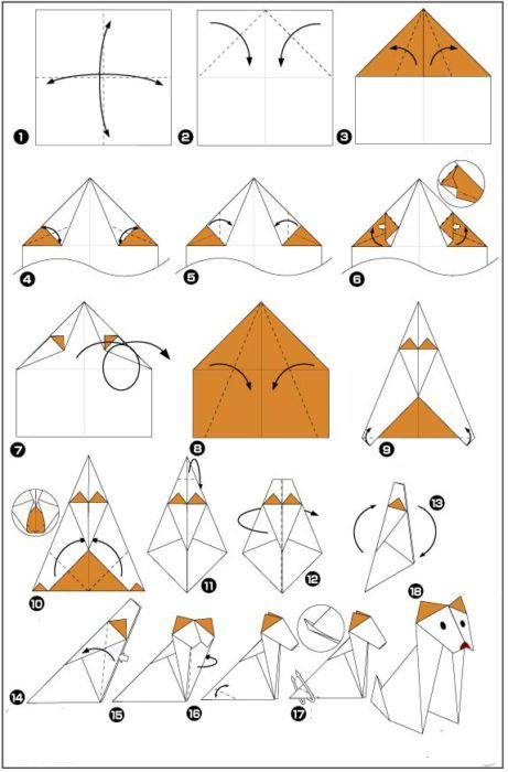 Оригами из бумаги собака схема 829