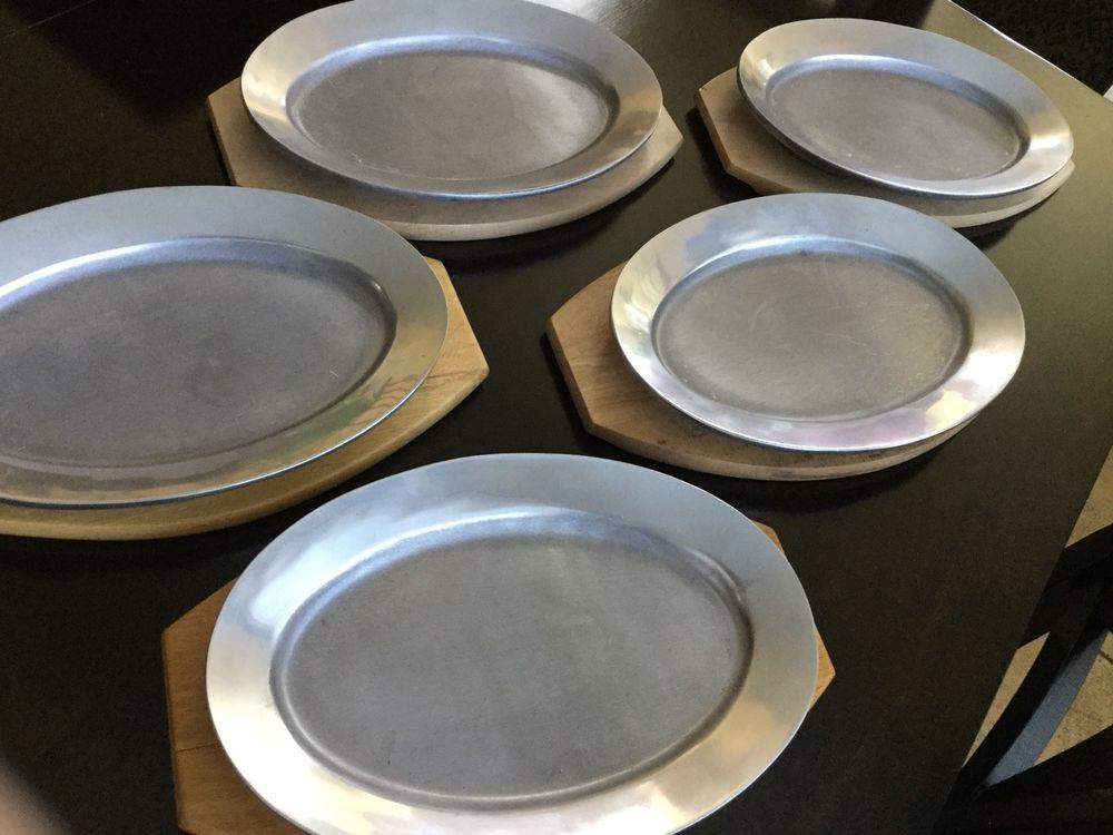 Vintage A C Fabricators Hawthorne Ca Cast Aluminum Restaurant Plate Charger This Vintage Plate And Wood Charger Is I Restaurant Plates Vintage Plates Plates