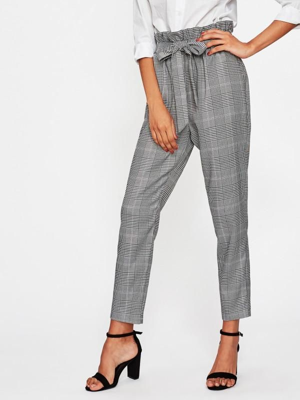 55613e44dfb New women plaid high ruffle waist straight leg trouser pant. Loose Pants  Outfit