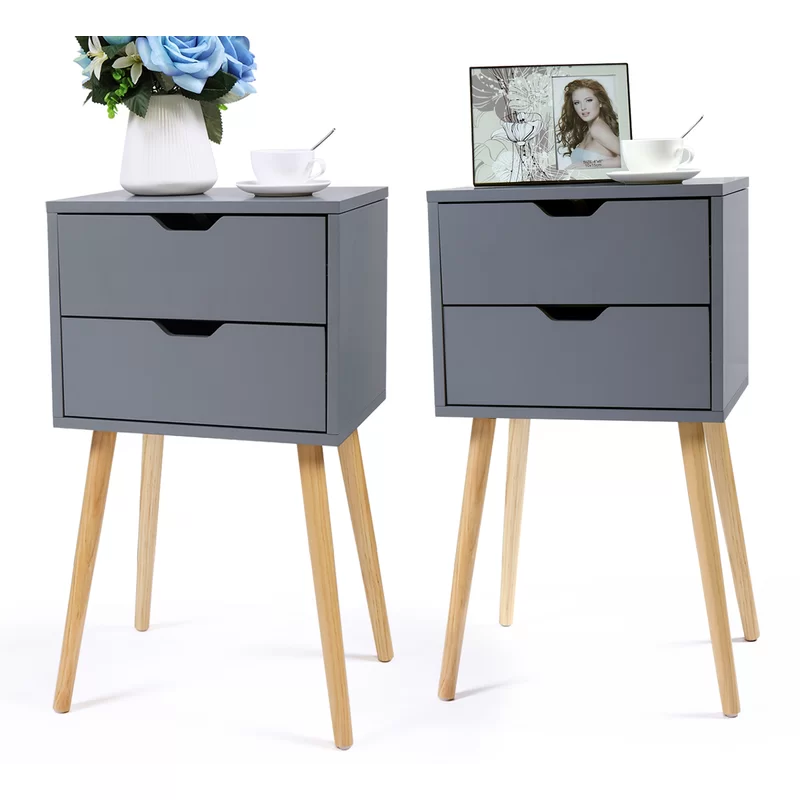 Alverson 2 Drawer Nightstand Grey Side Table Side Table With