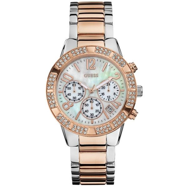 GUESS Glamorouse Sparkling Two-Tone Silver and Rose Gold-Tone Chronograph Watch