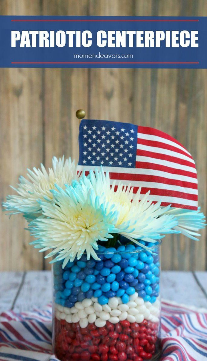 Diy patriotic table centerpiece a pretty red white and blue