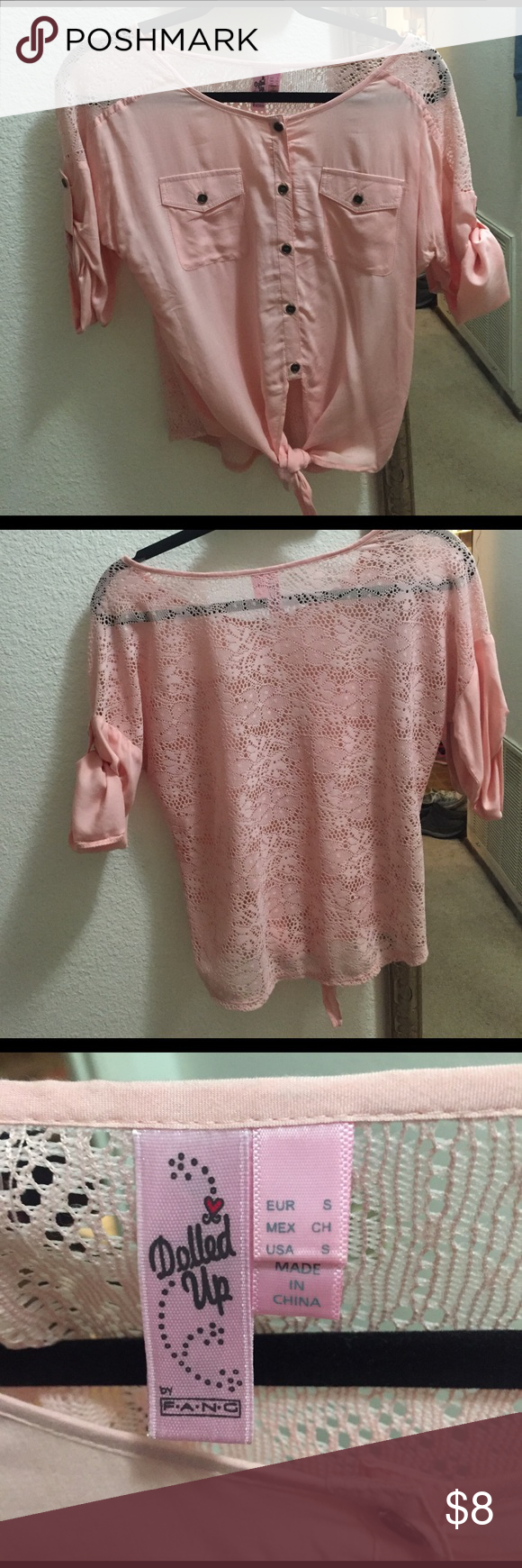 Pink blouse Cute pink blouse worn once! Lace back! So cute on with skinny jeans or leggings Dolled Up Tops Blouses