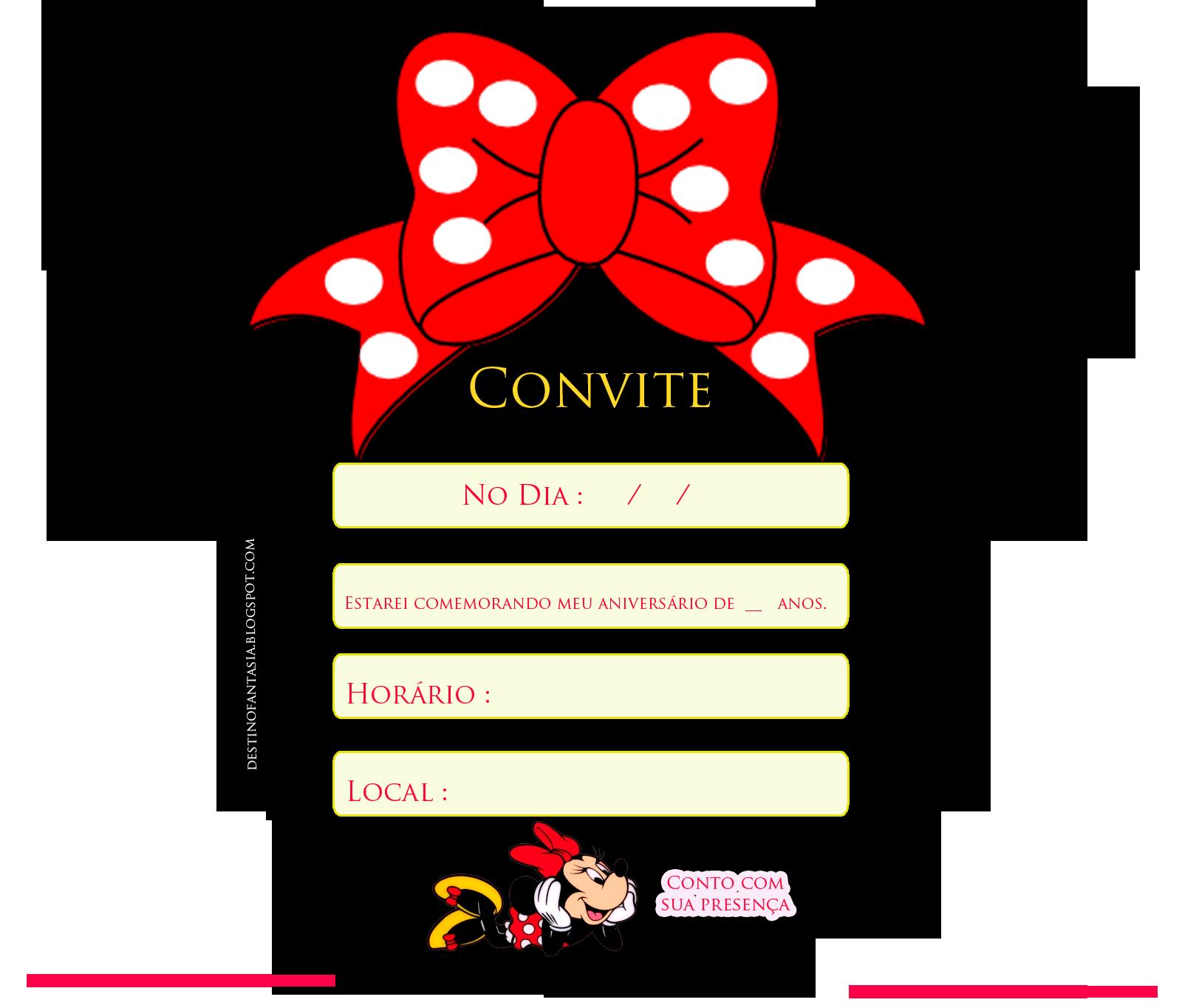 Convite Orelhas Festa Minie Convites