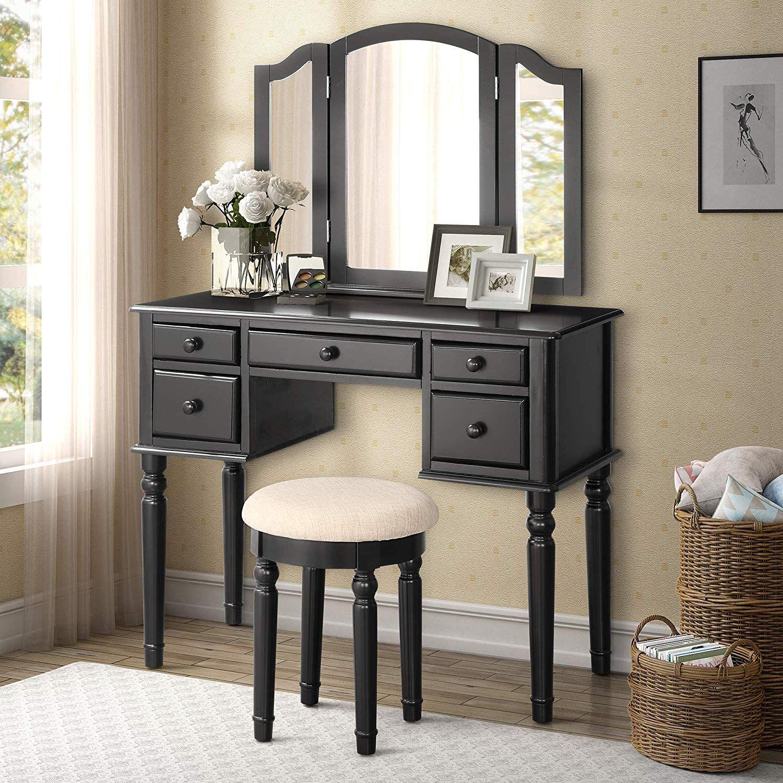 Black Makeup Vanity with Mirror Vanity table set