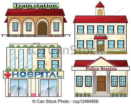 Police station clipart  A train station, a school, a police station and a hospital ...