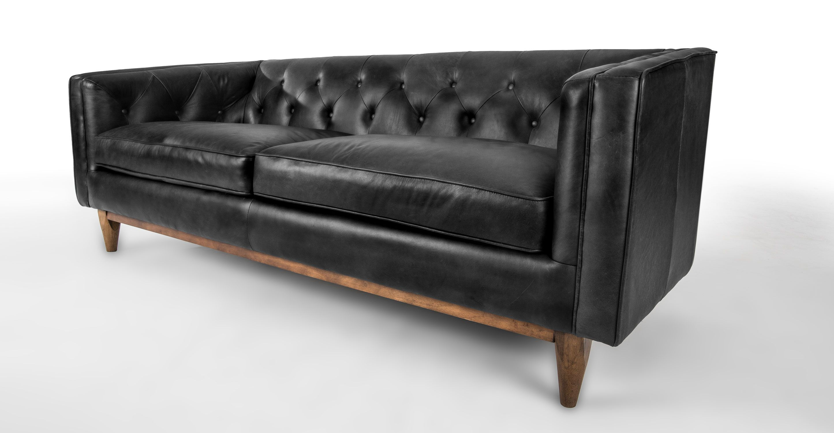 Black leather sofa in walnut wood finish article alcott modern furniture scandinavian Loveseat black