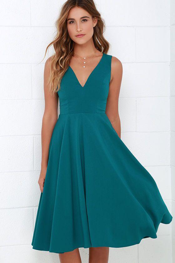 Teal Blue Midi Dress    Abiti Da Damigella D onore Verde Acqua cc6d35568c1
