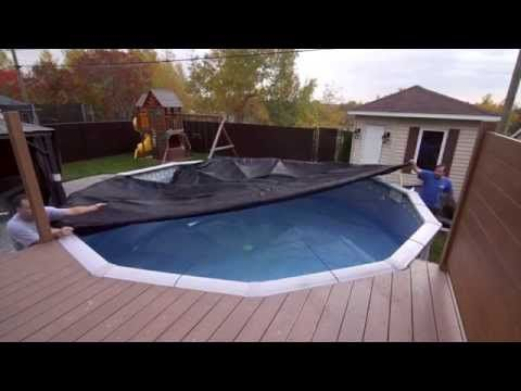 Toile Soleil Winter Cover For Above Ground Pool Youtube Winterize Above Ground Pool Winter Pool Covers Backyard Pool Landscaping
