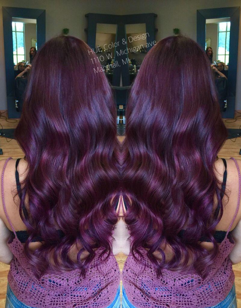 Violet red hair color with matrix color line socolor cabelo uc