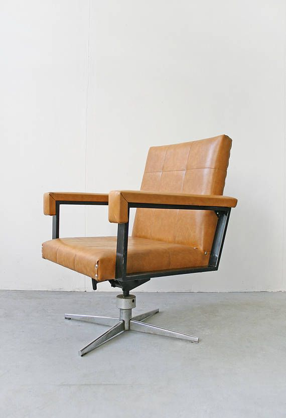 Vintage Orange Tan Leather West German Executive Swivel Office Chair Mid Century Modern Retro Arm Mid Century Modern Chair Modern Retro Armchair Retro Armchair