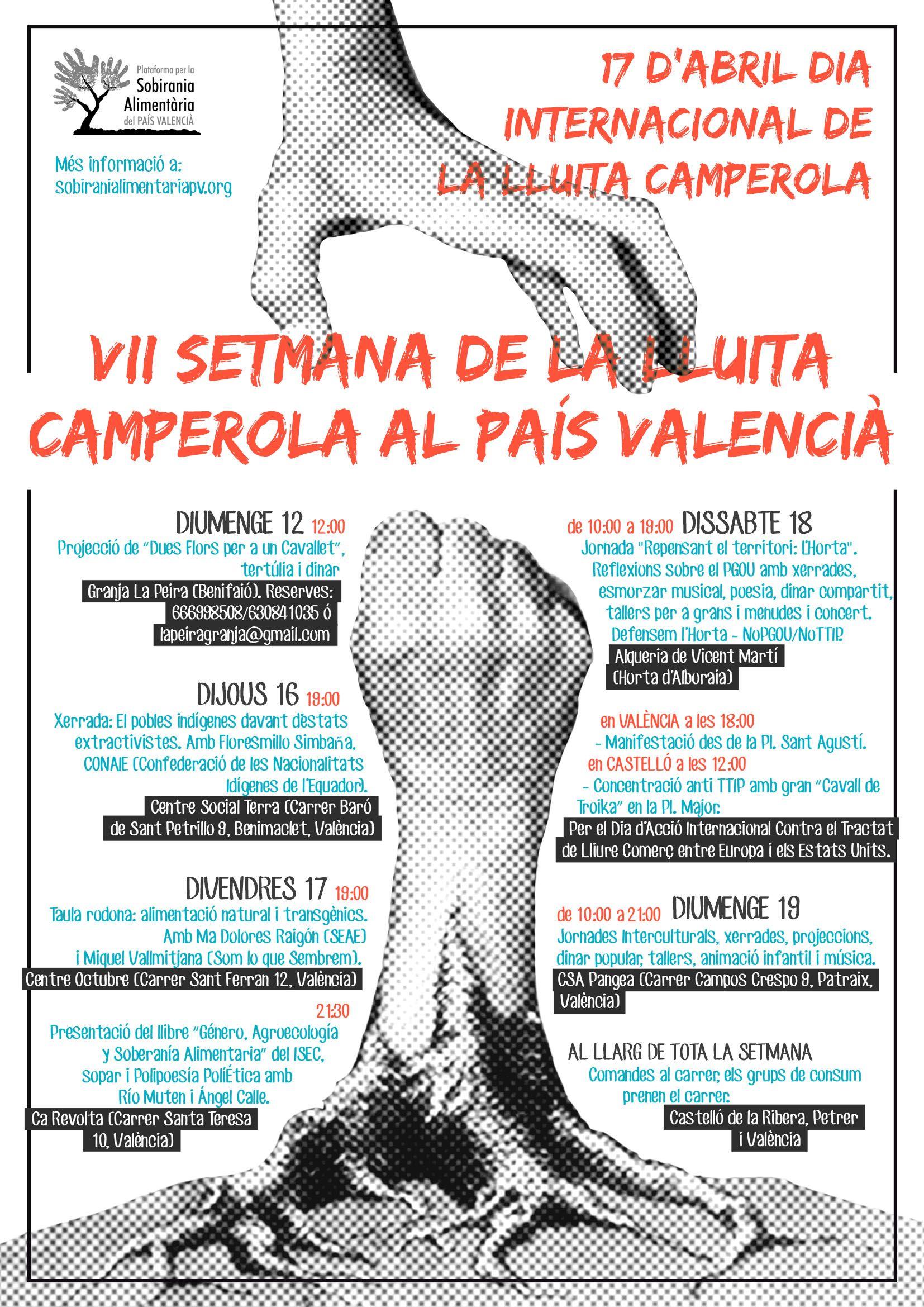 VII Setmana de Lluita Camperola. 17 de Abril, día internacional de la lucha campesina.