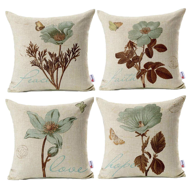 Throw Pillow Case Flower Pillow Throw Pillow Cases Linen Throw Pillow