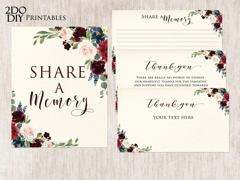 Editable Funeral Cards Burgundy Floral Printable Funeral Memory