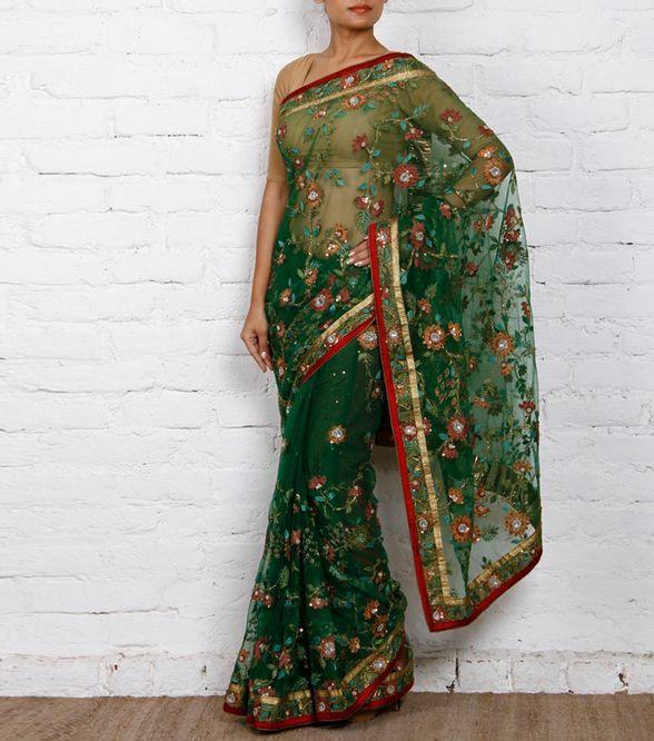 Green & rust georgette #Saree with Jaal brand Krishan Mugdha