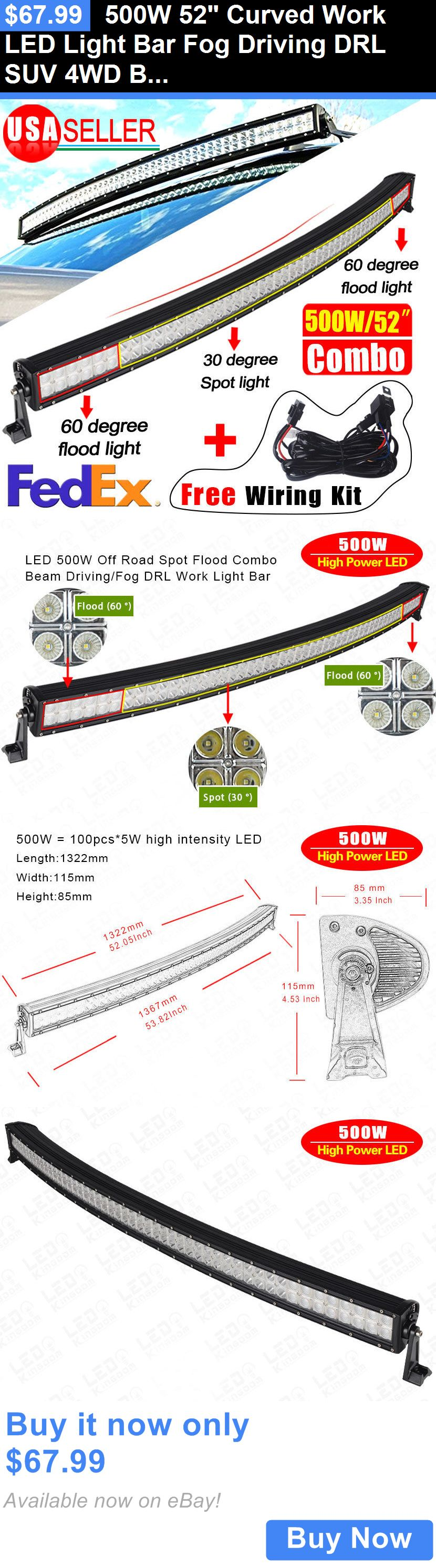 Motors Parts And Accessories 500w 52 Curved Work Led Light Bar Fog Curving Wiring Diagram For Use Driving Drl Suv