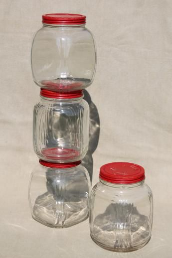 Charmant Hoosier Vintage Glass Jars W/ Red Painted Metal Lids, Pantry Storage Jars  Or Kitchen Canisters