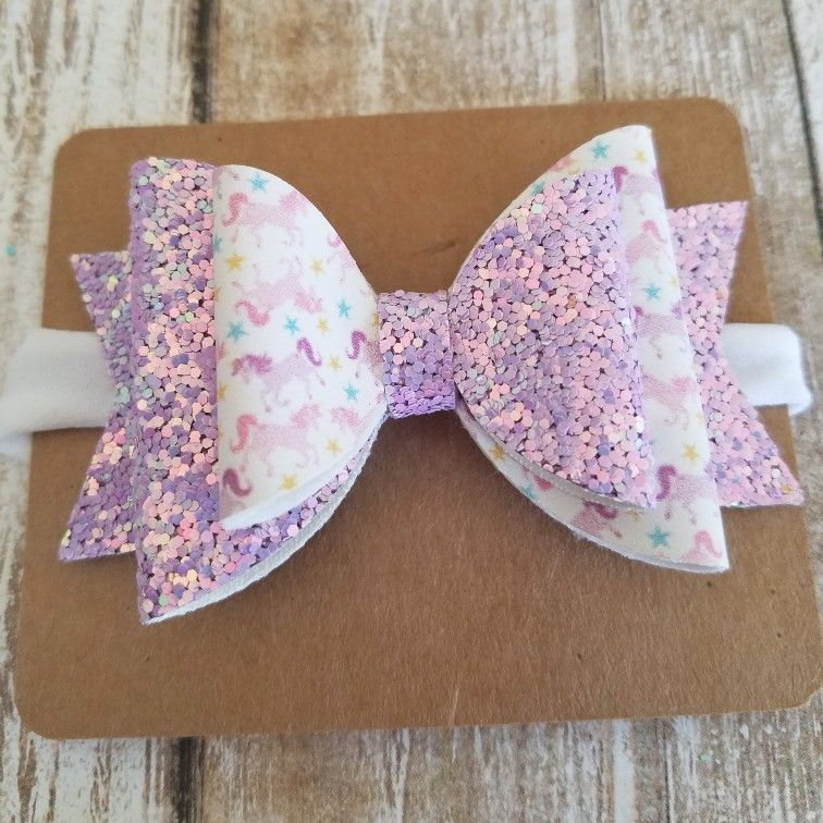 Girls Handmade 3.5Inch Stacked Fabric Pink  Glitter Love Heart Hair Bow Clip