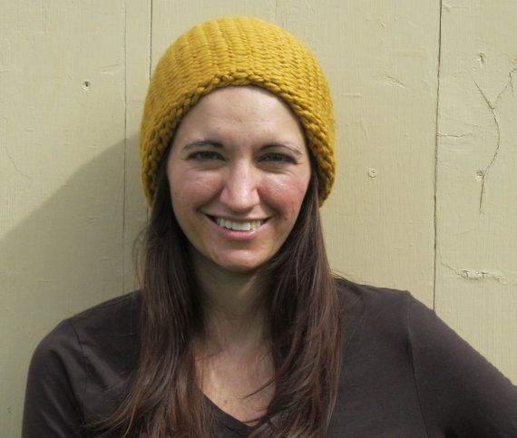 Golden Mustard Yellow Knitted Loops and Threads Cozy Wool Hat by ArtTx, $15.00