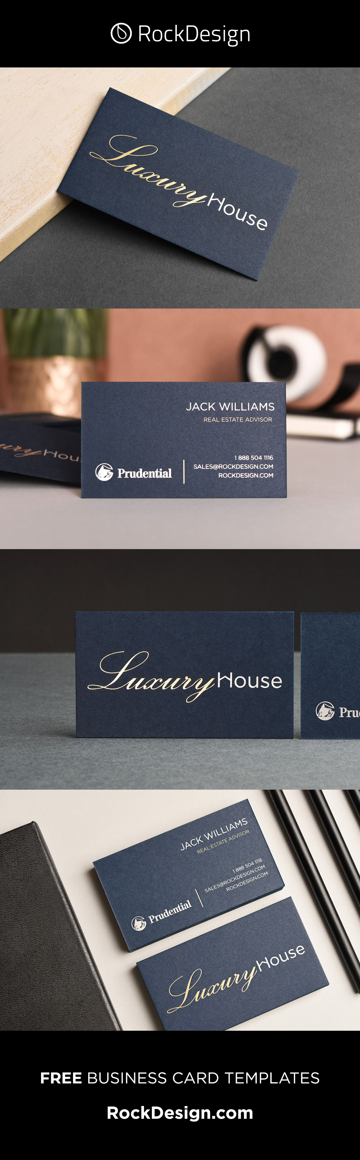 Professional Realtor Navy Card With Foil Stamping Luxury House Foil Business Cards Business Card Minimalist Blue Business Card