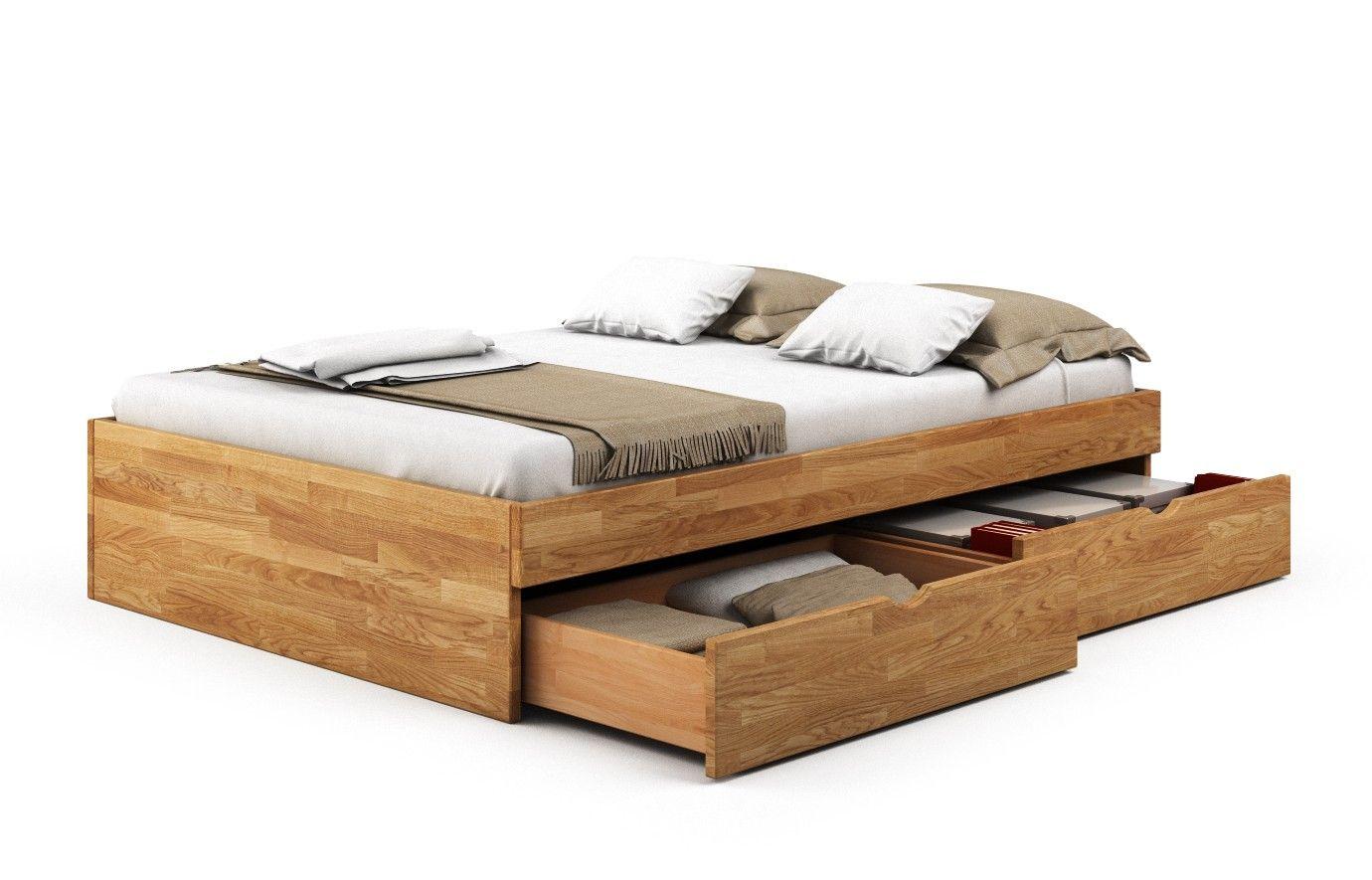 Bett Eiche Budapest Massivholz Pv 140 X 200 Cm 2 Schubkästen Einseitig Nein Rustikales Bett Bett Massivholz Möbel Für Kleine Wohnungen