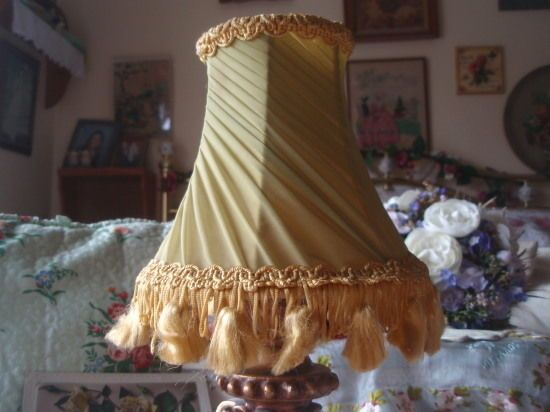 Vintage Shabby Chic Green Chiffon Pleated Candle Lampshade #1
