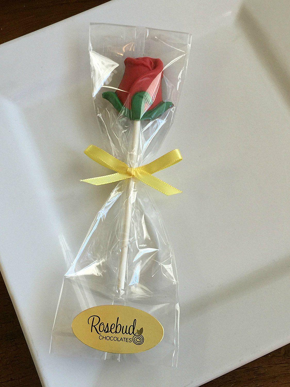 Amazon.com : 12 ROSE Milk Chocolate Lollipops Candy Party Favors ...